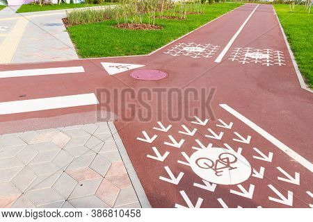 New Groomed Wide Modern Bike And Pedestrian Paths Two Lanes Of Opposite Directions. Bicycle Lanes Wi