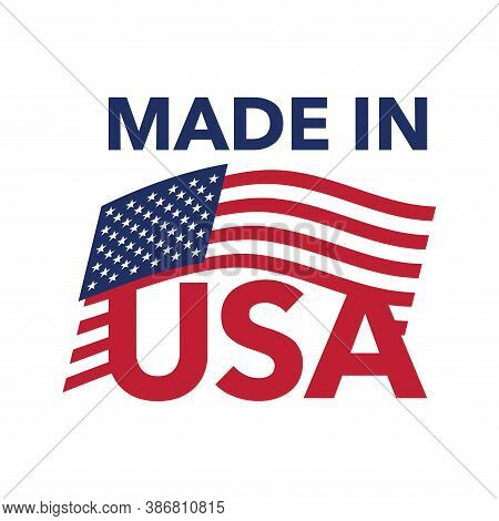 Made In Usa Badge Stamp For Authentic American Production Origin - Isolated Icon (sticker) With Unit