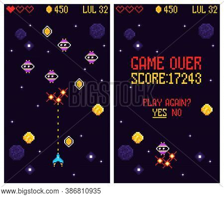 Arcade Computer Game Set Of Vertical Banners With Play Menu Screens Of Retro Space Combat Game Vecto