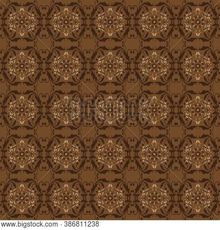 Modern Flower Motifs On Parang Batik Design With Dark Brown Color Concept.
