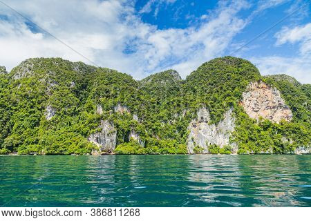 Beautiful Tropical Island Bay At Phi Phi Island In Thailand.