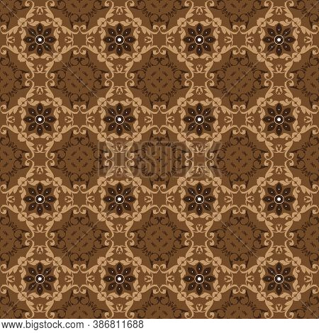 The Beautiful Flower Motif On Bantul Batik With Of Simple Dark Brown Color Design.