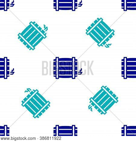 Blue Wooden Barrel Icon Isolated Seamless Pattern On White Background. Alcohol Barrel, Drink Contain