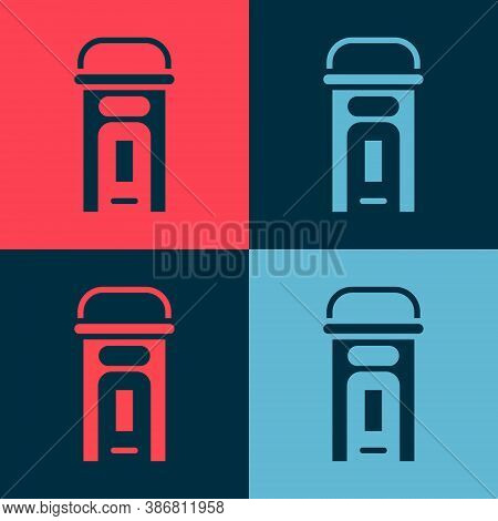 Pop Art London Phone Booth Icon Isolated On Color Background. Classic English Booth Phone In London.
