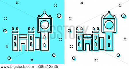 Black Line Big Ben Tower Icon Isolated On Green And White Background. Symbol Of London And United Ki