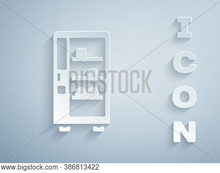 Paper Cut Vending Machine Of Food And Beverage Automatic Selling Icon Isolated On Grey Background. P