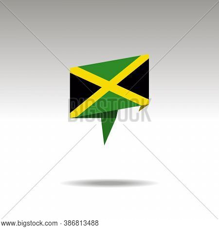 Jamaica Paper Flag 3d Realistic Speech Bubble On White Background