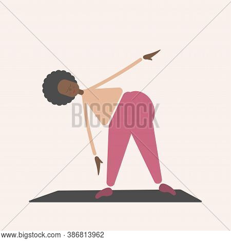 Cute Fat Curly African Woman Plays Sports At Home. Exercises To Tilt The Body To The Side. The Body