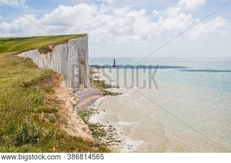 Seven Sisters National Park, View Of The White Cliffs Near Eastbourn , East Sussex, England