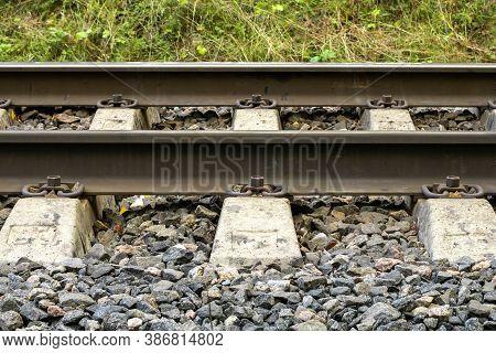 Railroad. Railroad Tracks Made Of Metal And Concrete.