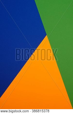 Color Blocking Background. Abstract Geometric Background.geometric Pattern In Orange, Green And Blue