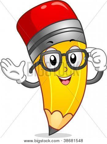 Mascot Illustration of a Pencil Wearing Nerd Glasses