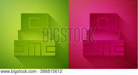 Paper Cut Mausoleum Of Lenin Icon Isolated On Green And Pink Background. Russia Architecture Landmar