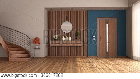 Home Entrance With Closed Front Door, Wooden Staircase And Sideboard On Wooden Panel - 3d Rendering