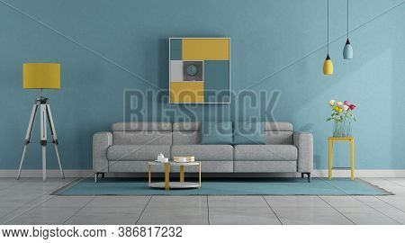 Modern Pastel Colors Living Room With Sofa And Floor Lamp - 3d Rendering