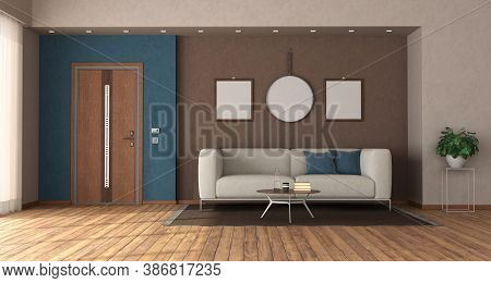 Modern Home Entrance With Closed Front Door ,sofa And Blanck Picture Frame - 3d Rendering