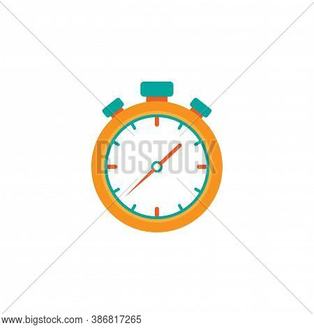 Orange Stopwatch Flat Icon Isolated On White. Fast Time Stop Watch, Limited Offer, Deadline Symbol.
