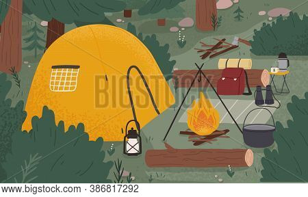 Empty Forest Touristic Camp With Tent And Bonfire Vector Flat Illustration. Equipment For Adventure