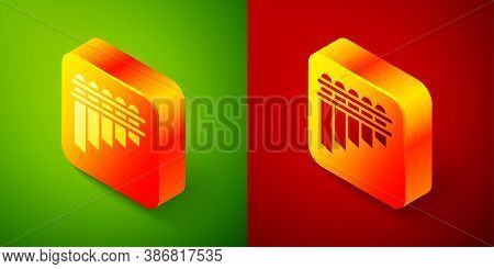 Isometric Pan Flute Icon Isolated On Green And Red Background. Traditional Peruvian Musical Instrume