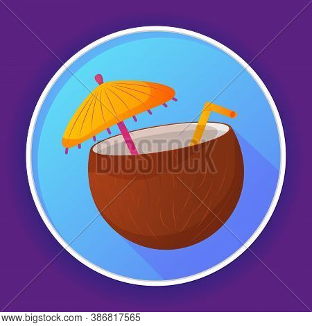 Beach Cocktail Coco Icon.pina Colada In Coconut With Straw, Umbrella, Flower.