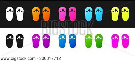Set Flip Flops Icon Isolated On Black And White Background. Beach Slippers Sign. Vector