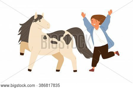 Joyful Little Girl Running To Hug Adorable Pony Vector Flat Illustration. Smiling Female Child Happy