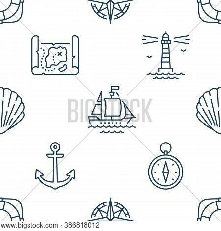 Marine Seamless Pattern With Line Icons. Vector Background Illustration Included Icon As Anchor, Com