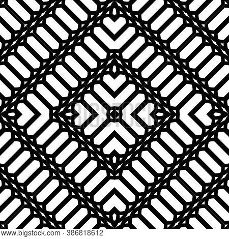 Design Seamless Monochrome Pattern. Abstract Geometrical Stripy Background. Vector Art