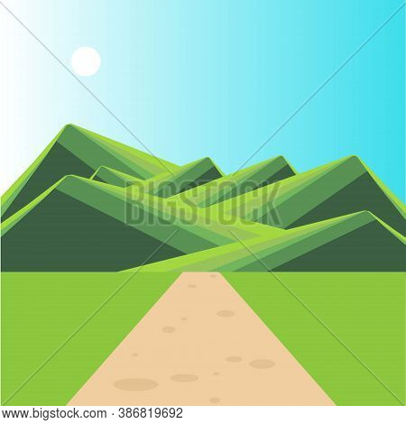 Mountain Green Landscape Path Sun Blue Sky Flat Design Art Design Stock Vector Illustration For Web,