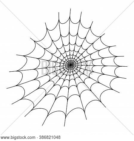 Spider Web Flat Vector Illustration. Halloween Decoration With Cobweb. Spiderweb Outline Graphic. Ho