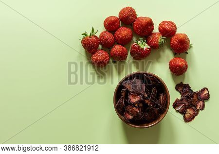 Dehydrated And Ripe Strawberries. Dried Sliced Berries Chips, Great Snack Without Artificial Sugar.