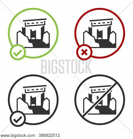Black Ancient Ruins Icon Isolated On White Background. Circle Button. Vector