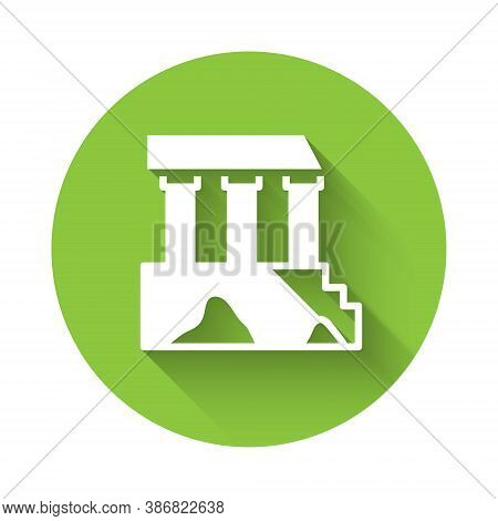 White Parthenon From Athens, Acropolis, Greece Icon Isolated With Long Shadow. Greek Ancient Nationa