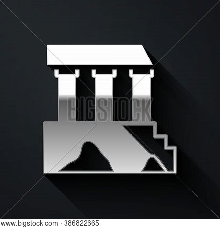Silver Parthenon From Athens, Acropolis, Greece Icon Isolated On Black Background. Greek Ancient Nat