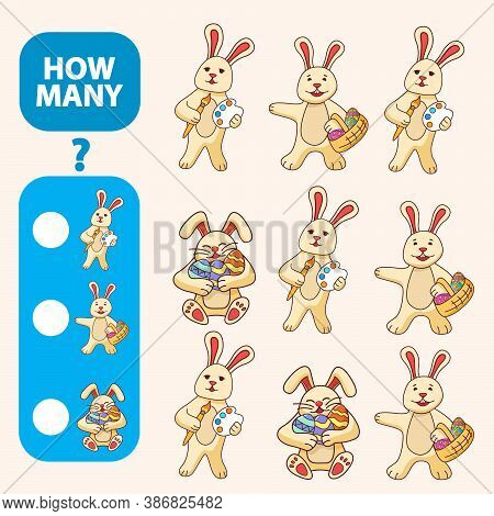 Count How Many Bunny Is Educational Game. Maths Task Development Of Logical Thinking Of Children.