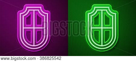 Glowing Neon Line Shield Icon Isolated On Purple And Green Background. Guard Sign. Security, Safety,