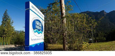 Hope, Bc, Canada - Aug 30, 2020: Nestle Bottled Water Facility At Kawkawa Lake Near Hope, Bc.