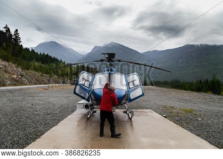 Whistler, Bc, Canada- Aug 30, 2020: An H125 Helicopter At The Green Lake Heliport In Whistler, Bc.