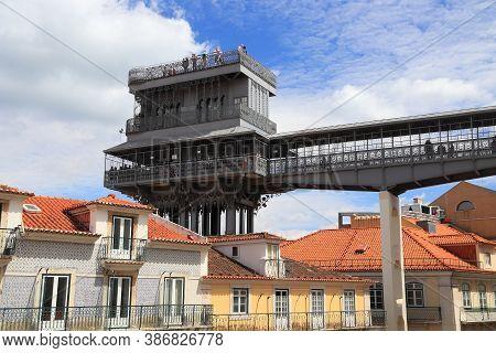 Santa Justa Elevator In Lisbon City In Portugal.