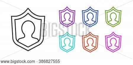 Black Line User Protection Icon Isolated On White Background. Secure User Login, Password Protected,