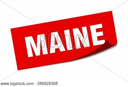 Maine Sticker. Maine Red Square Peeler Sign