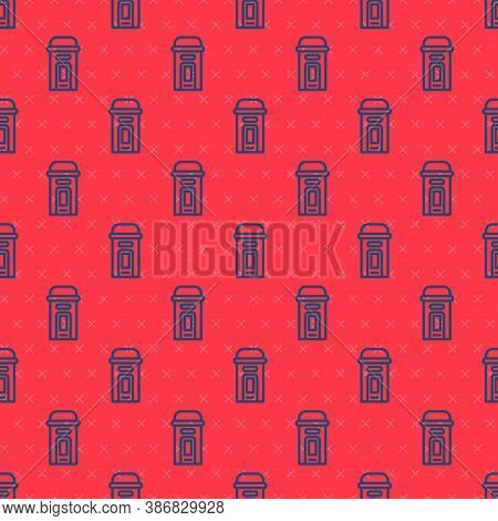 Blue Line London Phone Booth Icon Isolated Seamless Pattern On Red Background. Classic English Booth