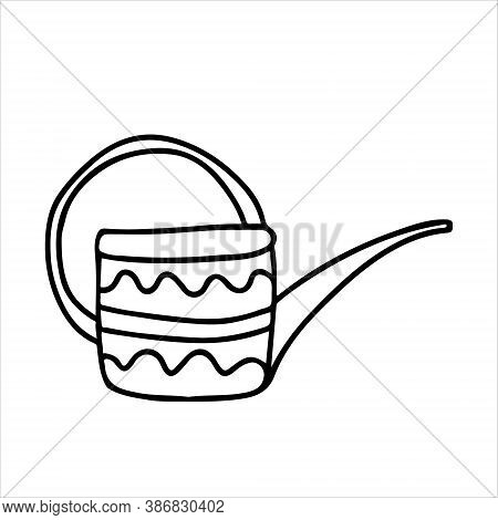 Watering Can Long Spout Decorated With Ornaments In Doodle Style. Hand Drawn Vector Illustration In