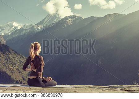 Meditating, Asana, Exercise And Meditation Relaxing In Yoga Pose. Mind Body Spirit Concept.