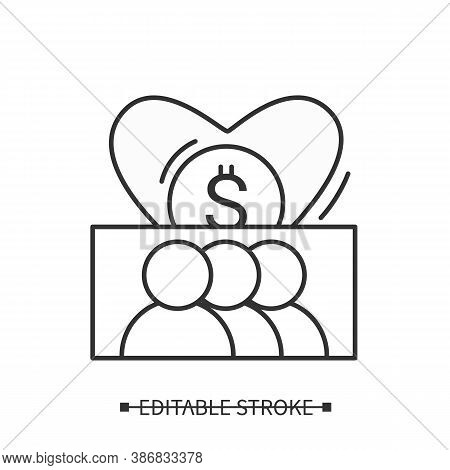 Charitable Communities Line Icon. Patrons And Volunteers. Charity Donation Organizations. Collection