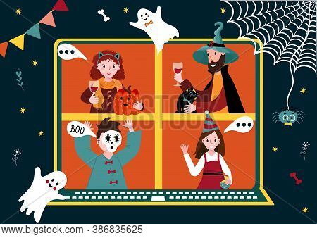 Halloween Online Party. Virtual Meet Group To Celebrate Festival. People In Horror Costume Have Vide