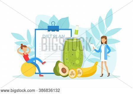Healthy Nutrition And Dieting, Female Nutritionist Doctor Holding Clipboard With Diet Plan, Weight L