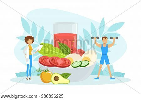Healthy Nutrition And Dieting, Female Nutritionist Doctor Consulting Man, Weight Loss, Nutrition Con
