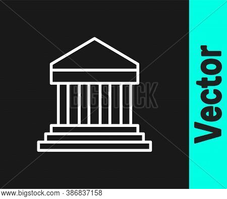 White Line Parthenon From Athens, Acropolis, Greece Icon Isolated On Black Background. Greek Ancient