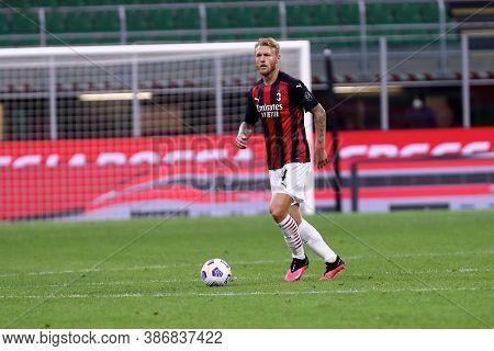 Milano, Italy. 24th September 2020. Uefa Europa League. Simon Kjaer Of Ac Milan   During The Uefa Eu